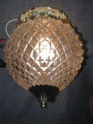 Vtg 70S Hollywood Regency Crystal Globe Shade Brass Ceiling Light Fixture