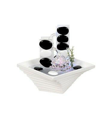 Black And White Serenity Fountain With LED Lights | Table Top Ceramic Fountain