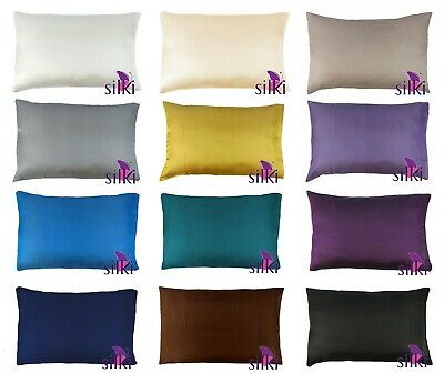 100% PURE MULBERRY 25 momme Silk (2 sides) Pillow case cover QUEEN w. Hidden zip
