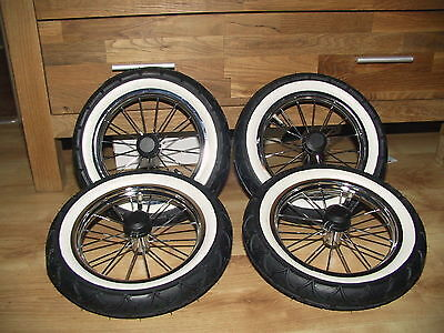 New Pushchair Chrome White wall tires Wheels suitable for Emmaljunga and Hesba