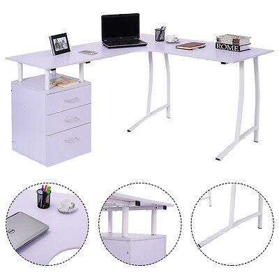 Large Corner Computer Desk A4 Filing Drawer for Home Office L-shaped PC Table