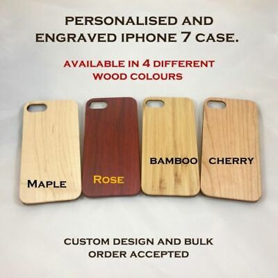 New iPhone 7+ Engraved & Personalised Slim Natural Wood Bamboo Case Cover Sk