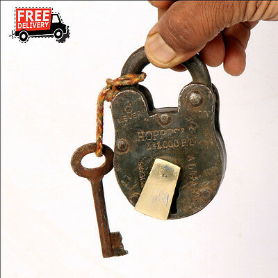 1992's Old Vintage Handcrafted Iron Brass Fitted Padlock, Nice Patina 8313 A
