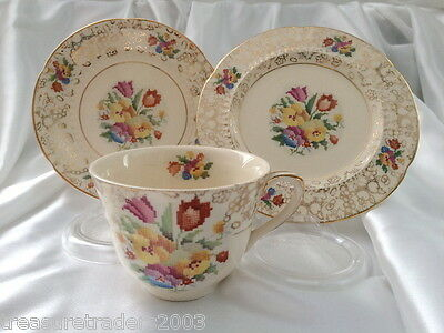 �� Trio H&k Tunstall Cross Stitch Gold Chintz England Teacup Saucer Side Plate