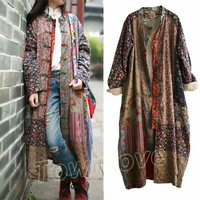 Women 100% Cotton Linen Folk Art Maxi Long Button Floral Loose Jacket Dress Coat
