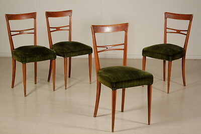 Group 4 Chairs Cherry Wood Springs Velvet Vintage Manufactured in Italy 1940s
