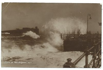 CHESHIRE / WIRRAL - STORM at NEW BRIGHTON  1923 Real Photo Postcard