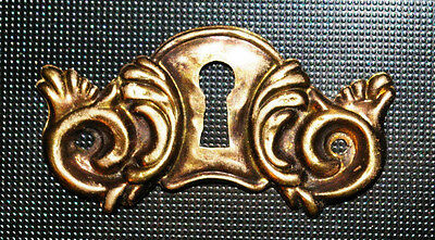 Pressed BRASS Keyhole Cover w/ scrolls - ESCUTCHEON. Drawer, Door, Jewelry,