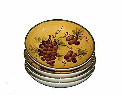 Tuscany Grape Wine Decor Hand Painted Soup/Cereal Bowls Set of 4pcs 82530 by ACK