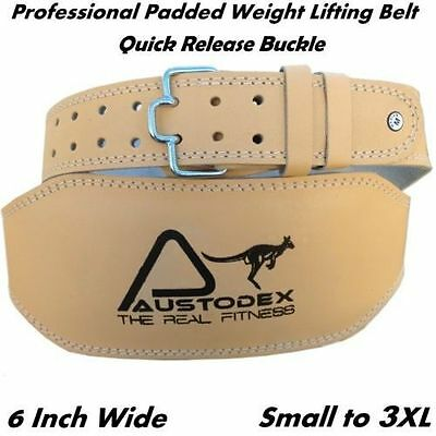 """Austodex Weight lifting bodybuilding back support weightlifting Leather Belt 6"""""""