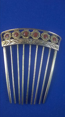 Antique Victorian 14K Gold Floral Engraved Top & Goldstone Hair Comb