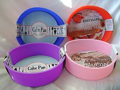 New Silicone Round Sponge Cake Baking Tin Mould Non Stick 18Cm