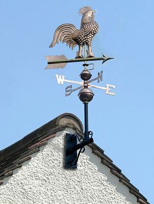 Polished Copper Rooster Motif Weathervane Wind Vane With Wrought Iron Bracket