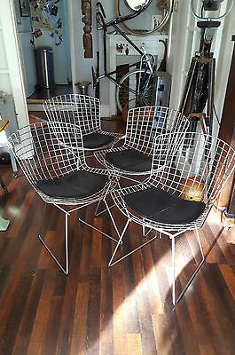 Classic Original Vintage Knoll Harry Bertoia Chrome Wire Side Chairs