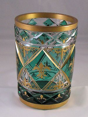 Gold & Emerald-Green over Crystal Vase, has Hand Cut Diamond Shaped Panels