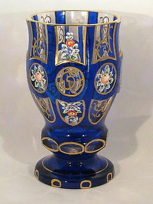 Bohemian Dark Blue Glass Friendship Cup with 3 Rows of of 4 Hand Painted Flowers