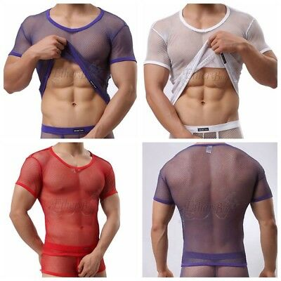 Mens Stringer Bodybuilding Tank Top Clubwear Gym Fitness Muscle Sheer T-Shirt