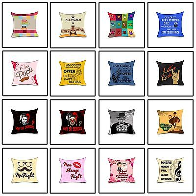 Uk Made 3D Print Soft Sateen Quote Cushion Covers Decorative Pillow Cover
