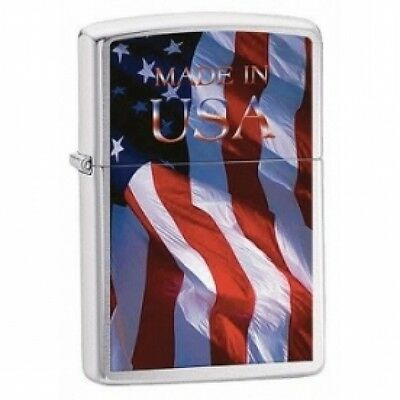 Zippo Made In USA Brushed Chrome Windproof Lighter  Brand New