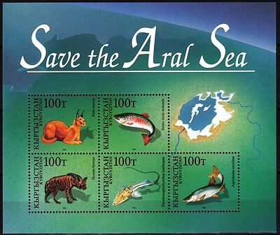 Fauna: Fish. Mammals. Save Aral Sea. Joint issue. KYRGYZSTAN 1996, MNH (T664)
