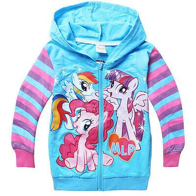 New My Little Pony Hoodie BLUE  2,3,4,5,6,7 YEARS JACKET Rainbow Dash twighlight
