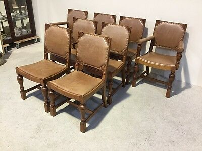Set Of 8 Leather Antique Oak Dining Chairs Inc 2 Carvers Cost £1800 To Restore