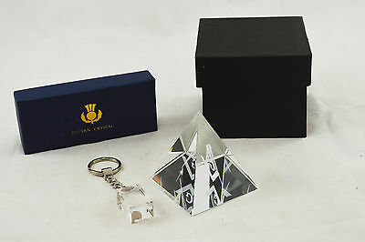 Pair Scarce Masonic Laser Etch Crystal Items Master Lodge Mason Square Compass G