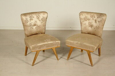 Two Chairs Springs Padding Fabric Upholstery Beech legs Vintage Italy 1950s