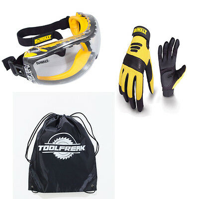 Dewaly Heavy Duty Work Gloves +Anti Fog Clear Lens Safety Goggles with FREE BAG