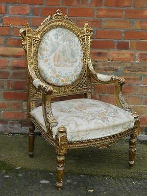 A GOOD19thC FRENCH ANTIQUE GILT CHAIR FAUTEUIL ARMCHAIR