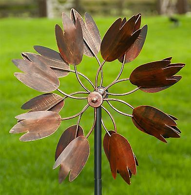 "Burnished Copper ""Floral Magic"" Flower Petal Design Wind Dancer Or Wind Spinner"