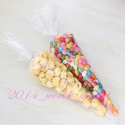 Hot! 25-1000x Clear Cone Cellophane Candy Party Bags Free Silver Twist Ties #x