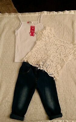 girls outfit / set 3piece age 3 yrs jeans vest and lace overtop
