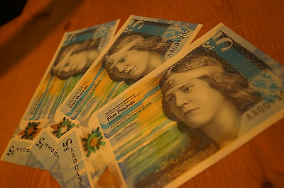 RBS uncirculated £5 polymer note low serial numbers x3
