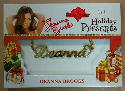2012 Benchwarmer Deanna Brooks Holiday Presents Auto Necklace Chain 1/1 Swatch
