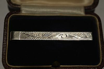 Solid Sterling Silver Engraved Tie Clip, 925
