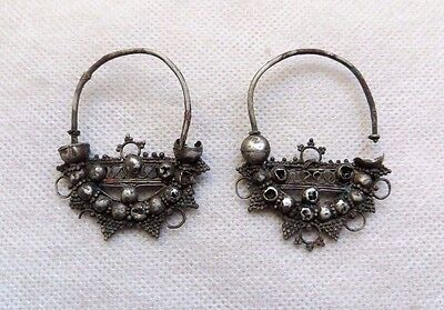Pair of 2 Ancient Roman Silver Earring.UNIQUE.