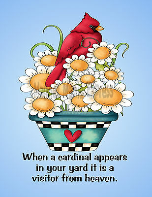 METAL REFRIGERATOR MAGNET Cardinal In Yard Visitor Heaven Saying Family Friend