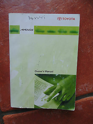 Toyota Avensis Welcome Owners Passport Manual Handbook Pack 2000