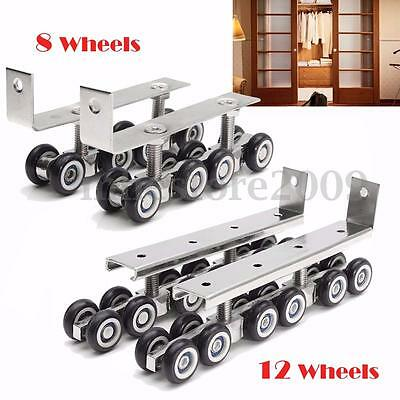 2x Sliding Wooden Door Roller Hanging Wheels Closet Hangers Hardware Heavy Duty