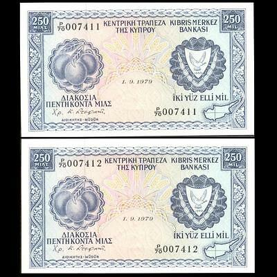 Cyprus 1979 250 Mils 2 Banknotes Extf With Consecutive Numbers
