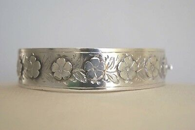 Fine Antique Victorian Silver  Bangle With Raised Floral Decoration 19.3 G