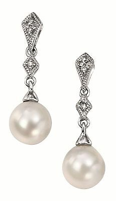 'Elements Gold' White gold with fresh water pearl and diamonds drop Earrings - G