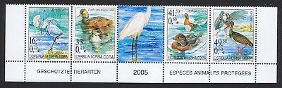 Serbia and Montenegro Protected Birds Bottom strip 4v+label SG#116/19