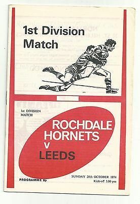 Rochdale Hornets v Leeds 20th Oct 1974 Rugby League Programme