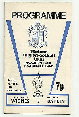 Widnes v Batley 15/02/76 Challenge Cup Rugby League Programme