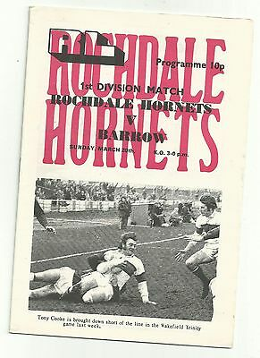 Rochdale Hornets v Barrow 20th March 1977 Rugby League Programme