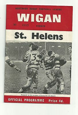 Wigan v St Helens 26th March 1966 Rugby League Programme