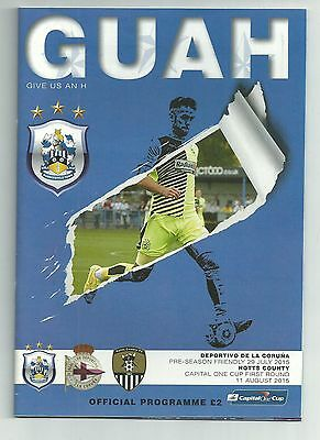 Huddersfield Town v Deportivo & Notts County 2015/16 Football Programme