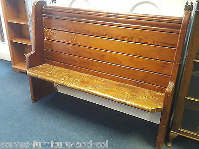 "Pitch Pine Cornish 2/3 Seater Church Pew - 4'11"" - Redruth Tr15 2Sq"